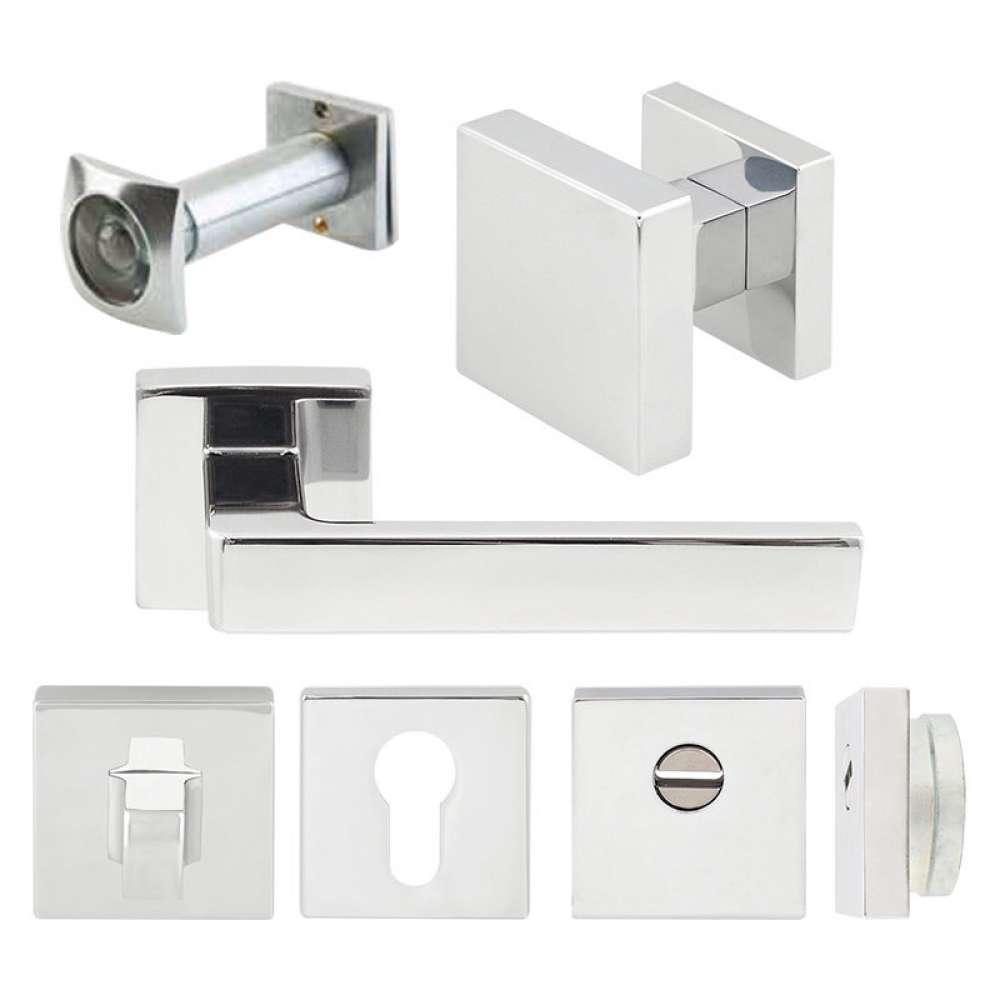Комплект Quadra для входной двери (ручка,кноб,накладка под цилиндр,накладка WC,броненакладка,глазок), хром матовый (50645)