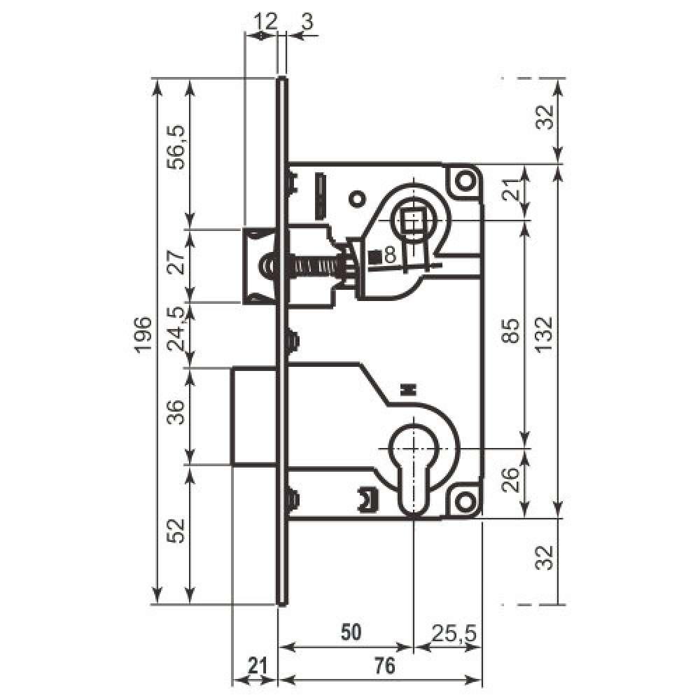 Механизм для межкомнатных дверей AGB Centro B010255003 латунь 85мм (438)