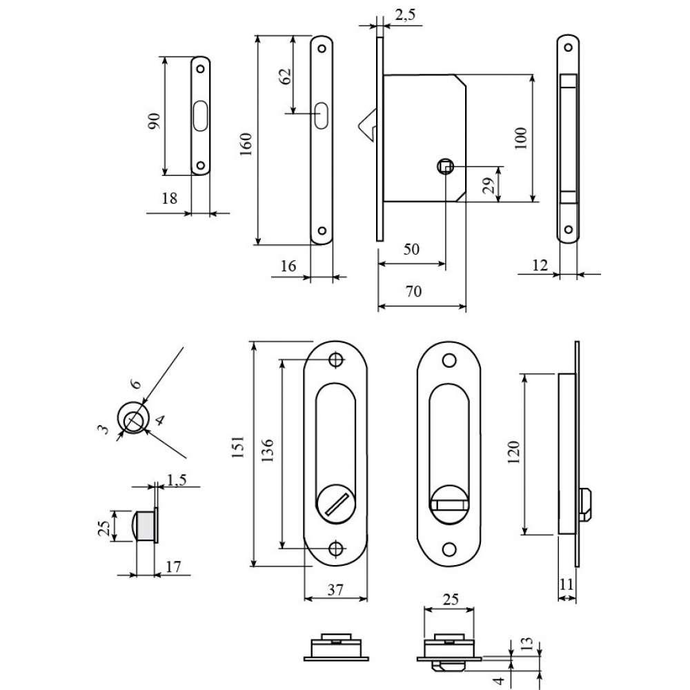 Комплект для раздвижных дверей RDA (ручка SL-155 + замок RDA с отв планкой 4120) полированная латунь (24951)