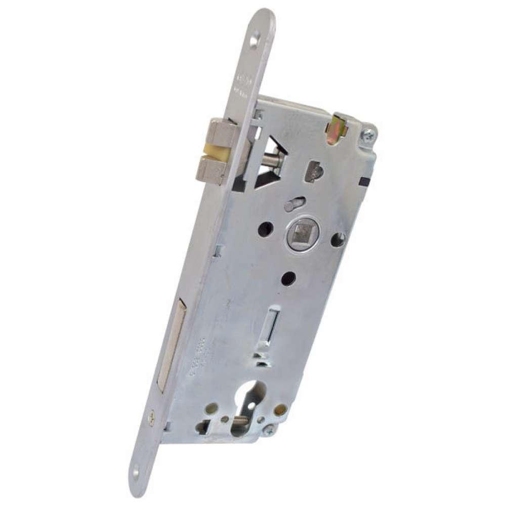 Замок для входных дверей одноригельный AGB B541024534 SX матовый хром (левосторонний) (26196)