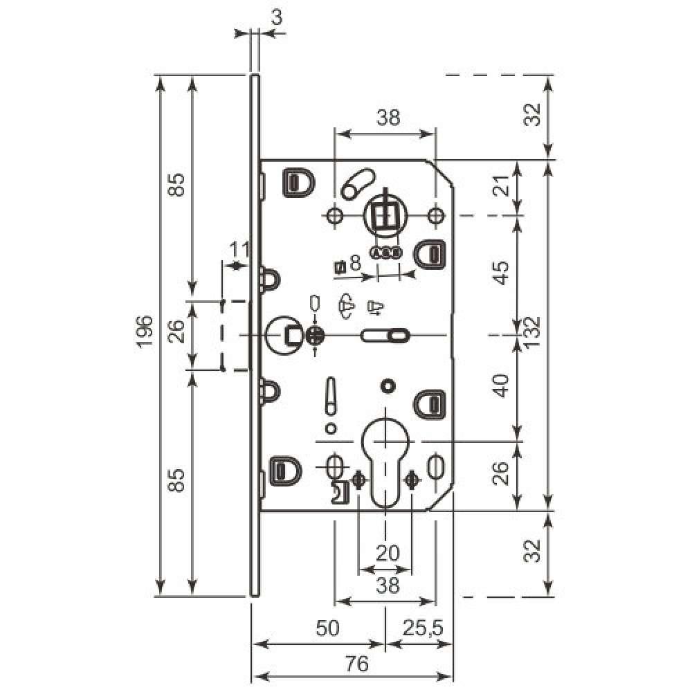 AGB B011035022 Механизм межкомнатный под цилиндр Mediana Evolution античная бронза 85 мм (27195)