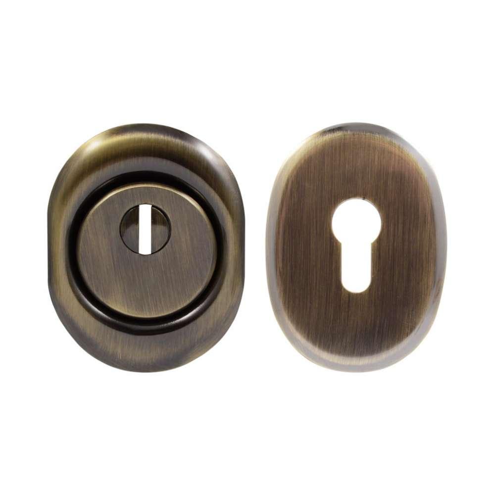 Броненакладка Protect 14mm c кольцом овальная AB, античная латунь (50516)