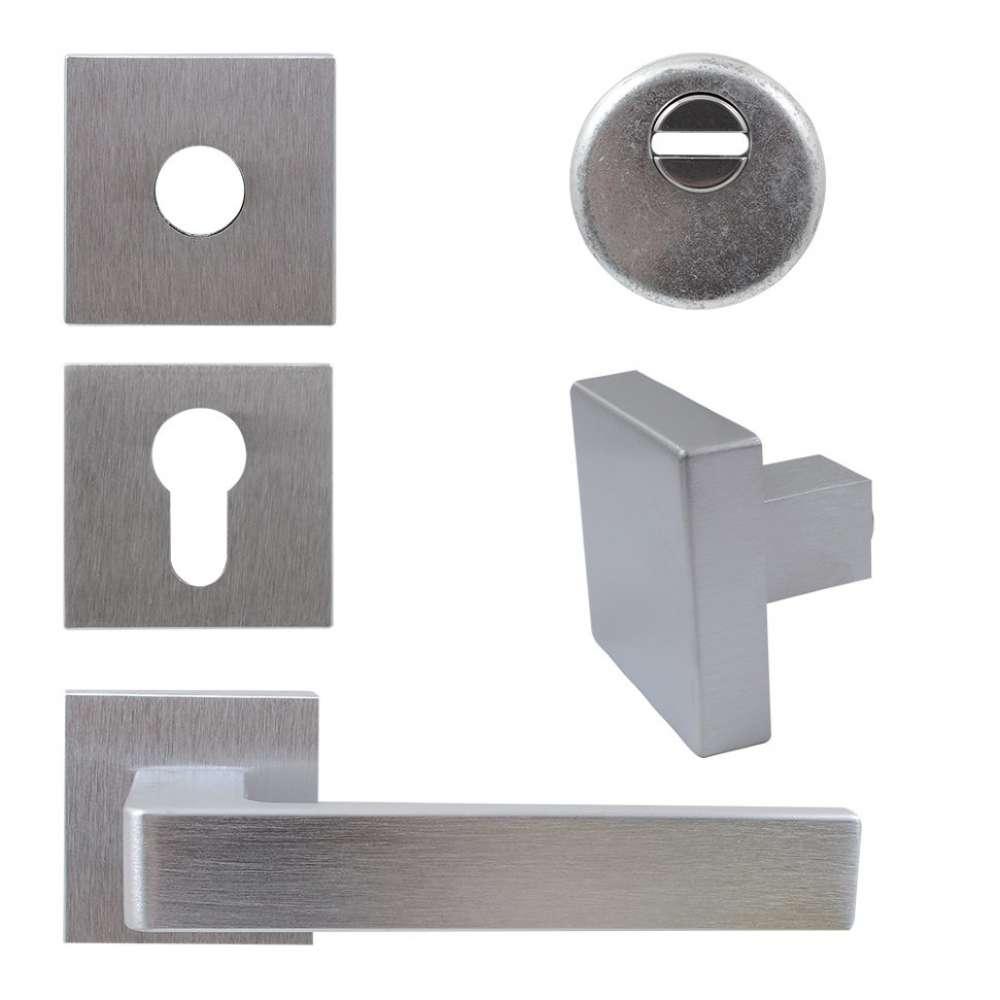 Комплект Quadra для входной двери (ручка,кноб,накладка под цилиндр,броненакладка), хром матовый (50643)